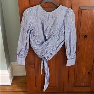 ZARA blue and white striped open back blouse - M